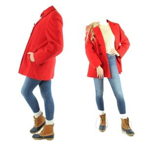Vintage 80s 90s Mackintosh Red Wool Peacoat